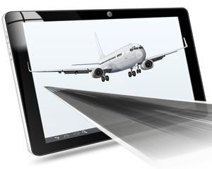 Passagierflugzeug mit Tablet und Landebahn, freigestellt