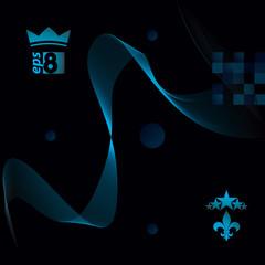 Blue dimensional flowing stripy ribbon, dreamy futuristic backgr