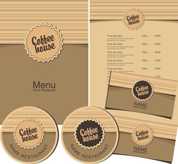 set for coffee house menu and  business cards