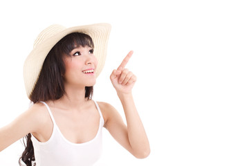 woman pointing up, looking up, white isolated background