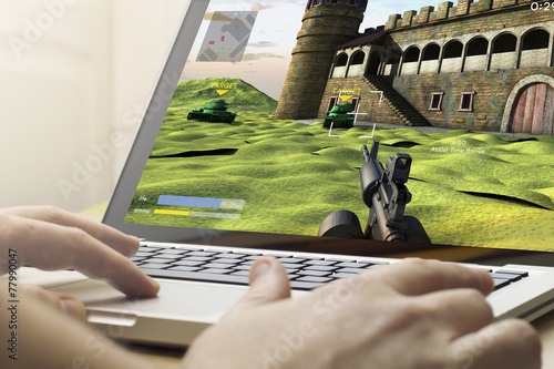 gaming on a laptop Poster