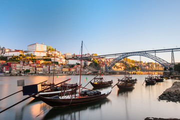 Traditional boats in the Douro River. Porto
