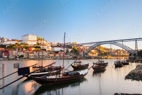 Traditional boats in the Douro River. Porto - 77990664