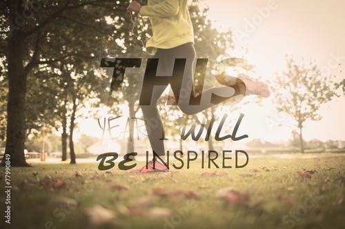 canvas print picture Composite image of active woman jogging