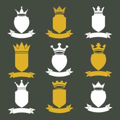 Collection of empire design elements. Heraldic royal coronet ill