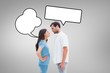 canvas print picture - Composite image of angry couple staring at each other