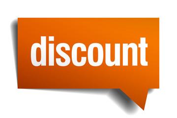 discount orange speech bubble isolated on white