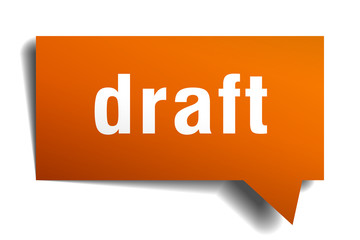 draft orange speech bubble isolated on white