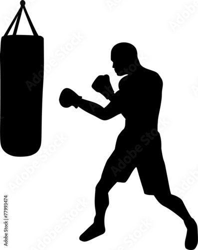 Boxer with Punching Bag - 77993474