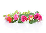 wreath of flowers isolated on white - 77993605
