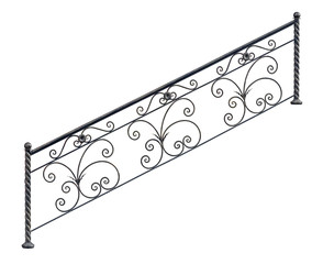 Modern decorative  railing staircase steps.