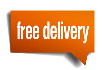 free delivery orange speech bubble isolated on white