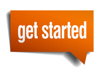 get started orange speech bubble isolated on white