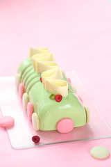 Pistachio Raspberry Yule Log