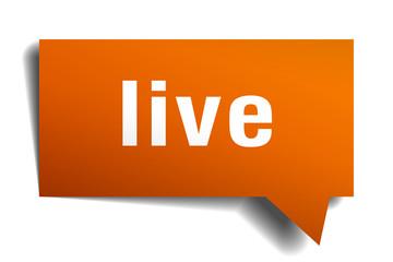 live orange speech bubble isolated on white
