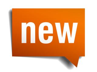 new orange speech bubble isolated on white