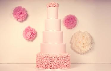 pink marzipan wedding cake