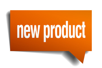 new product orange speech bubble isolated on white