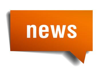 news orange speech bubble isolated on white