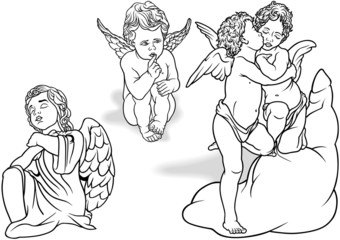 Cherub Set - Black Outlined Illustrations