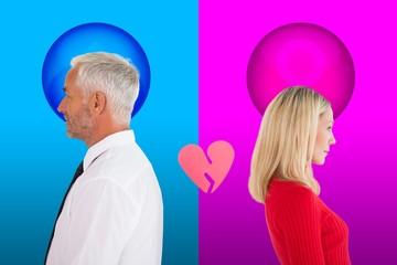 Couple not talking with broken heart between