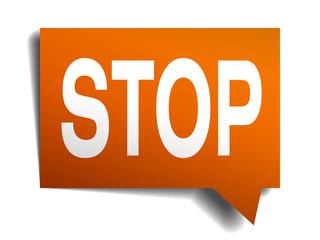 stop orange speech bubble isolated on white