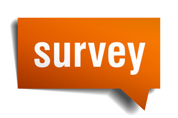survey orange speech bubble isolated on white