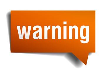warning orange speech bubble isolated on white
