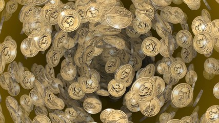 1 Dollar coins seamless loop 4k