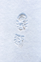 One man's footstep on the fresh snow