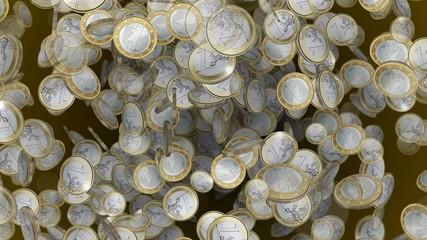 1 Euro coins seamless loop 4k