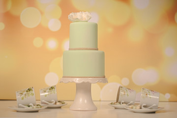 green marzipan wedding cake