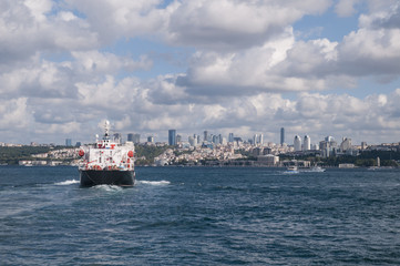 Ship sails Bosphorus
