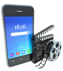 smartphone and cinema clap and film reel, over white background