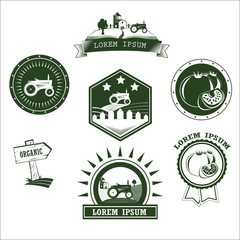 Set of retro vintage farm fresh labels, badges and design