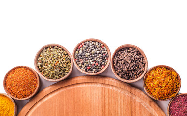 set spices in a wooden bowl