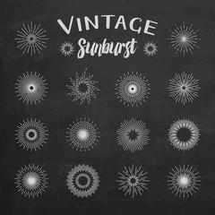 Vintage sunburst on chalkboard background