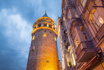 The Galata Tower, Beyoglu - Istanbul. Wonderful night colors