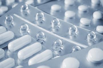 Pills in blister pack closeup