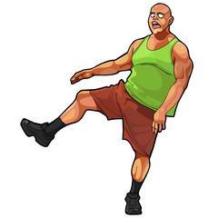 cartoon funny guy muscular, jumping on one leg