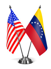 USA and Venezuela - Miniature Flags.