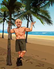 smiling bald man in shorts on a sandy beach with palm trees