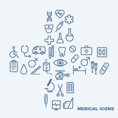 medical icons on light blue background