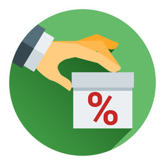 percentage on hand web icon. vector design