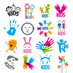 big set of vector logos children