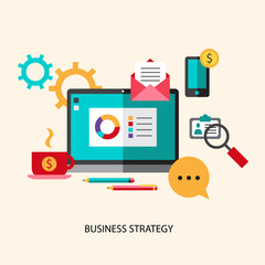 Business strategy planning icon flat set with effective