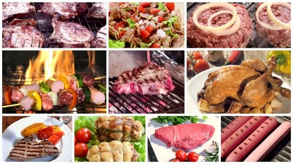 different types of meat, montage