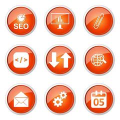 SEO Internet Sign Orange Vector Button Icon Design Set 6