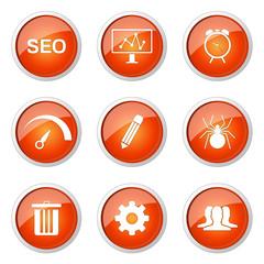 SEO Internet Sign Orange Vector Button Icon Design Set 8