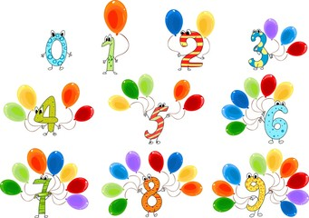 Funny numbers with balloons